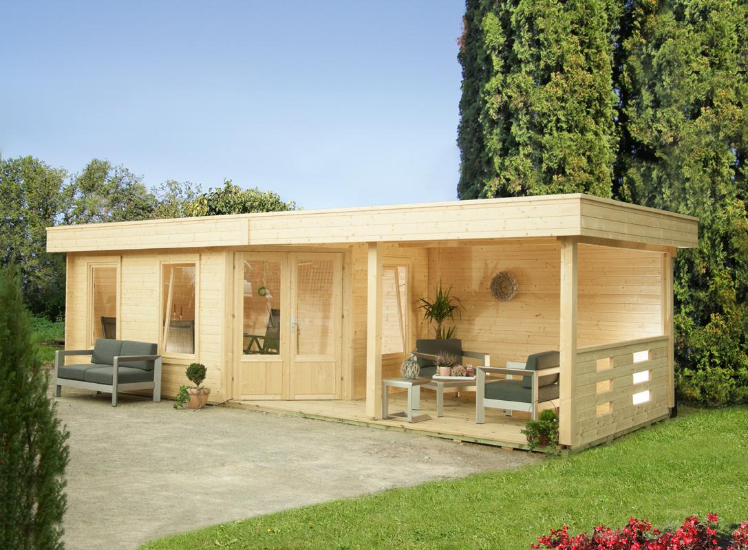 Gartenhaus Flachdach «453x299cm mit Terrasse 250 cm Fünf-Eck Holzhaus  Bausatz | vom Gartenhaus-Fachhändler