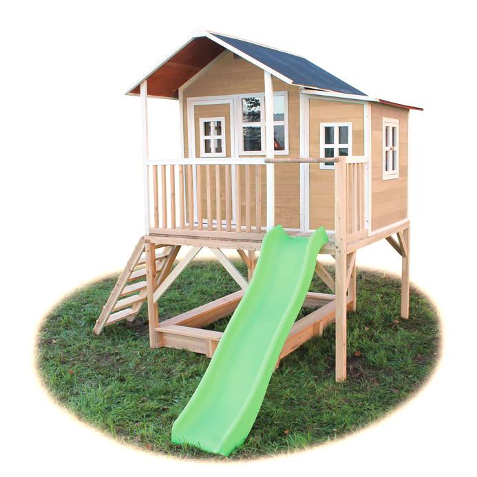 c05c9f3a8f Kinder-Spielhaus großes Stelzen-Kinderspielhaus Holz natur Rutsche Sandkiste