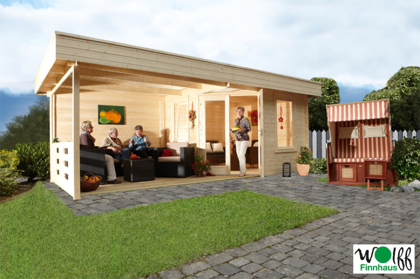 gartenhaus flachdach 280x280cm mit terrassenanbau f nf eck holz haus kaufen im holz. Black Bedroom Furniture Sets. Home Design Ideas