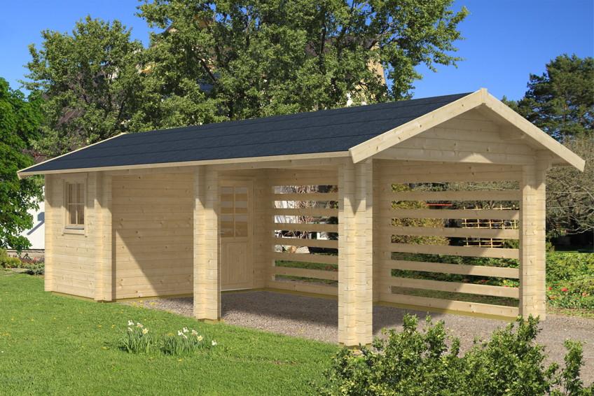 Holz-Carport-Bausatz SKANHOLZ «Stockholm» mit Anbauschuppen ...