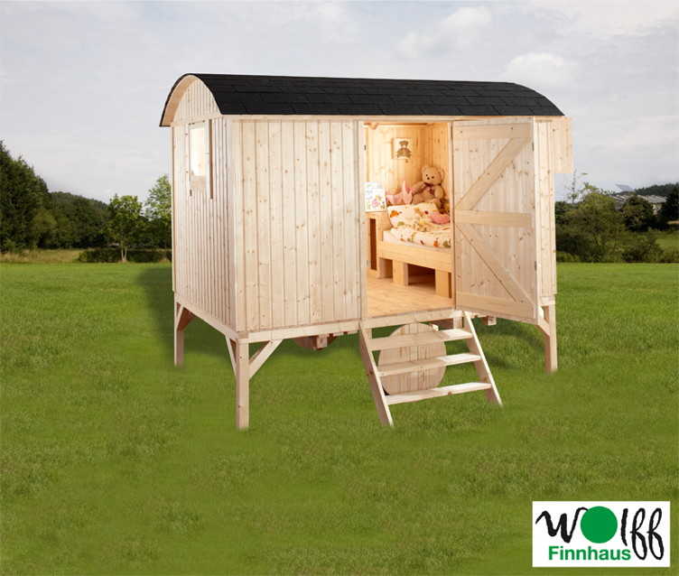 kinderspielhaus wolff camping bauwagen holz stelzen. Black Bedroom Furniture Sets. Home Design Ideas