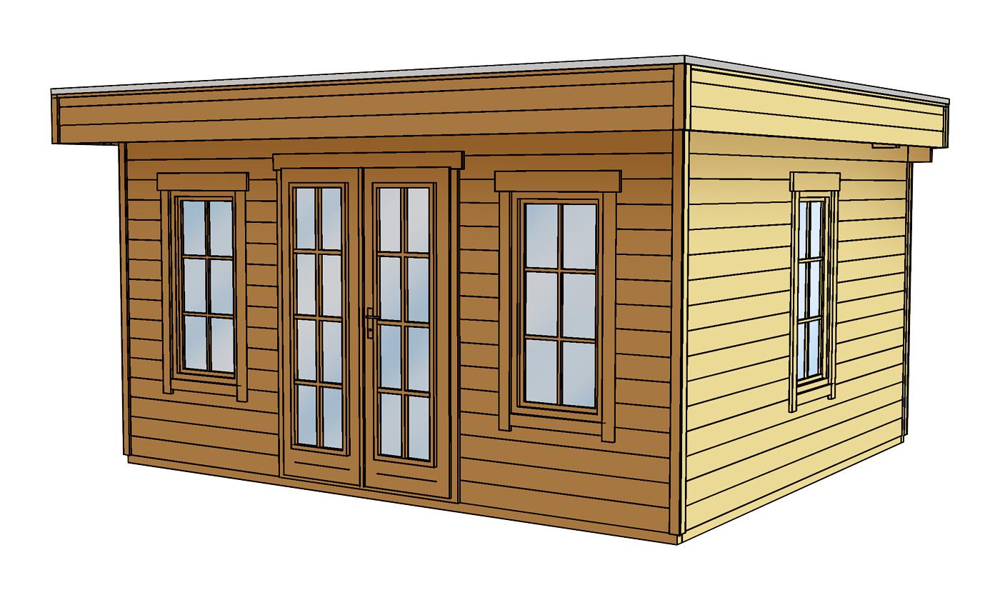 Flachdach gartenhaus skanholz basel 45plus mit panorama for Gartenhaus bauen lassen