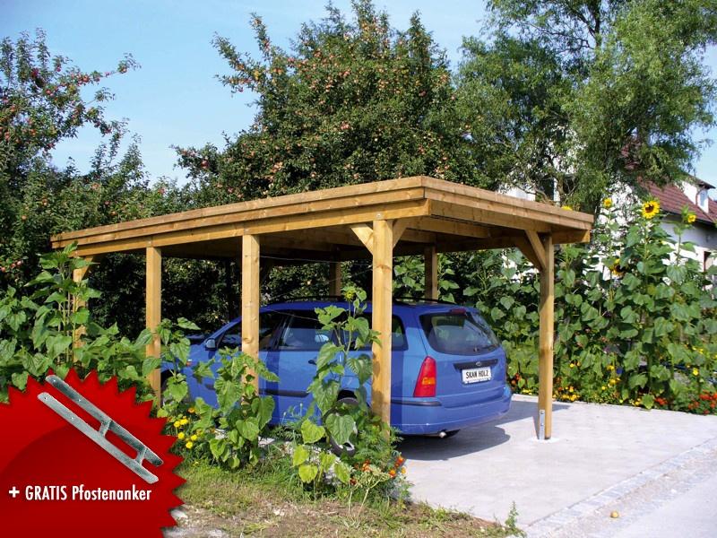 Holz-Carport SKANHOLZ «Holstein» Flachdach Einzelcarport