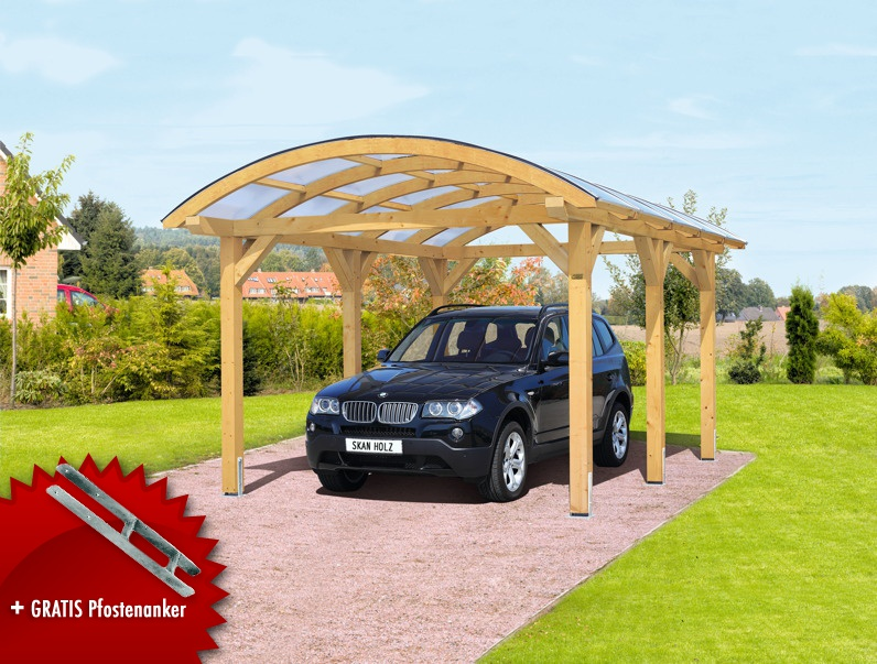 holz carport bausatz skanholz franken durchsichtiges runddach einzelcarport kaufen im holz. Black Bedroom Furniture Sets. Home Design Ideas