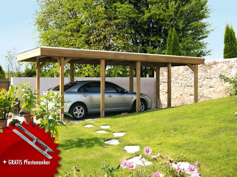 Holz-Carport-Bausatz SKANHOLZ «Friesland Aluminiumdach» Flachdach ...
