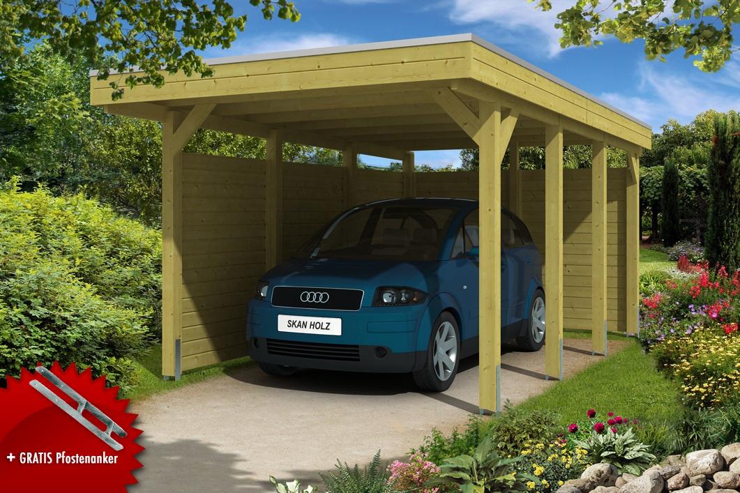 Holz-Carport-Bausatz SKANHOLZ «Friesland Aluminiumdach» Einzelcarpot ...