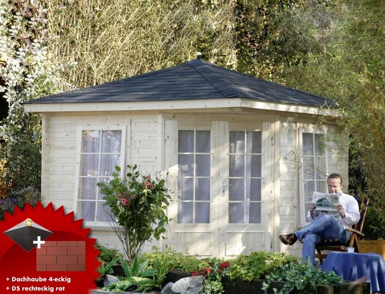 5 eck gartenhaus 299x299cm holzhaus bausatz doppelt r dachschindeln rot vom gartenhaus. Black Bedroom Furniture Sets. Home Design Ideas