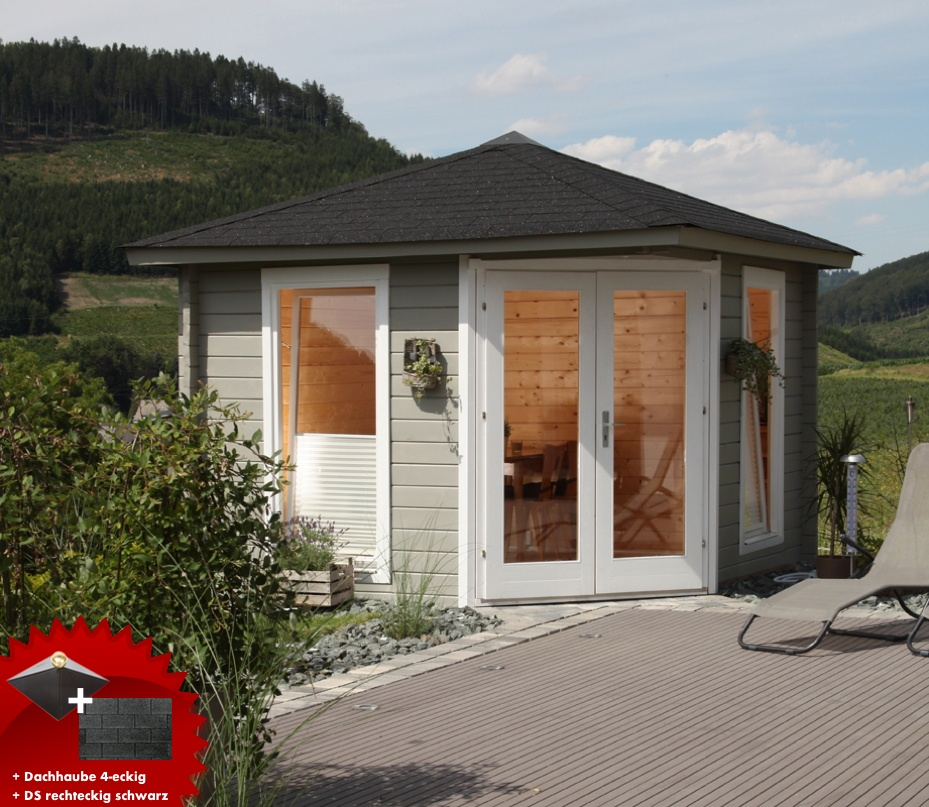 5-Eck-Gartenhaus «300x300cm Holzhaus Bausatz 44» Doppeltür ...