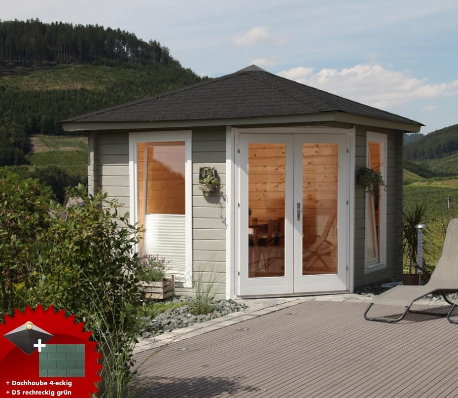 5-Eck-Gartenhaus «300x300cm Holzhaus Bausatz 44mm» Doppeltür Dachschindeln  grün | vom Gartenhaus-Fachhändler