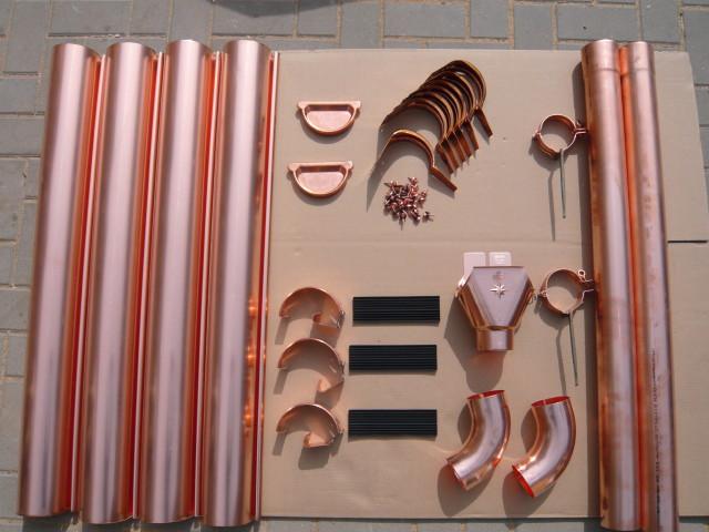 dachrinnenset kupfer f r pultd cher vom gartenhaus fachh ndler. Black Bedroom Furniture Sets. Home Design Ideas