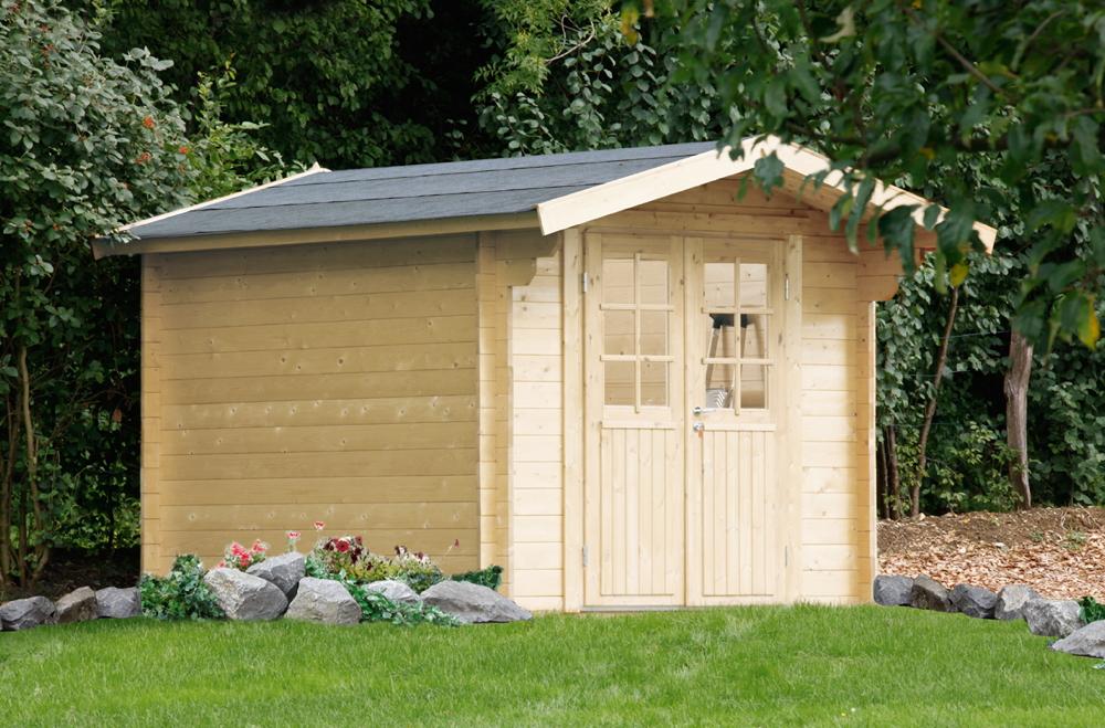 Gartenhaus «240x240cm Holzhaus Bausatz Holz 34mm» Gartenhaus, Doppeltür |  vom Gartenhaus-Fachhändler