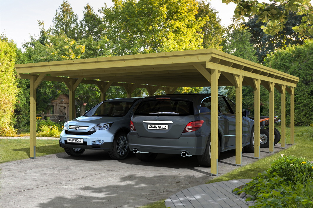 holz carport skanholz holstein flachdach doppelcarport vom gartenhaus fachh ndler. Black Bedroom Furniture Sets. Home Design Ideas