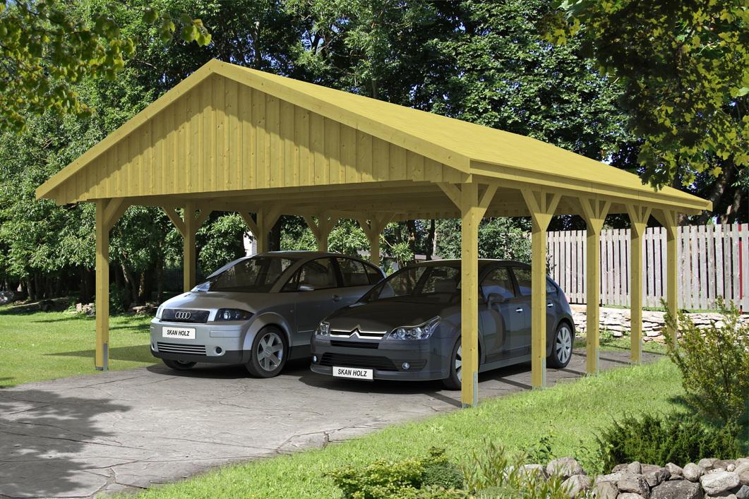 holz carport skanholz sauerland doppelcarport mit dachschalung satteldach kaufen im holz. Black Bedroom Furniture Sets. Home Design Ideas