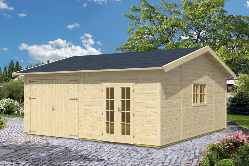 garage skanholz mora 3 einzelgarage 45 mm holzgarage. Black Bedroom Furniture Sets. Home Design Ideas