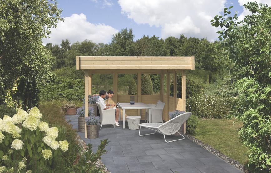 Holz Pavillon Mit Seitenteilen ~ Pavillon KARIBU «FLACHDACH»  Holz Pavillon Terrassendach  Kaufen
