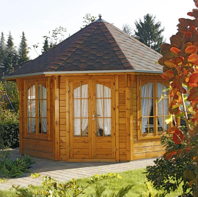 Holz-Pavillon 8-Eck-Gartenpavillon 4m Ø im Landhausstil, geschlossen ...