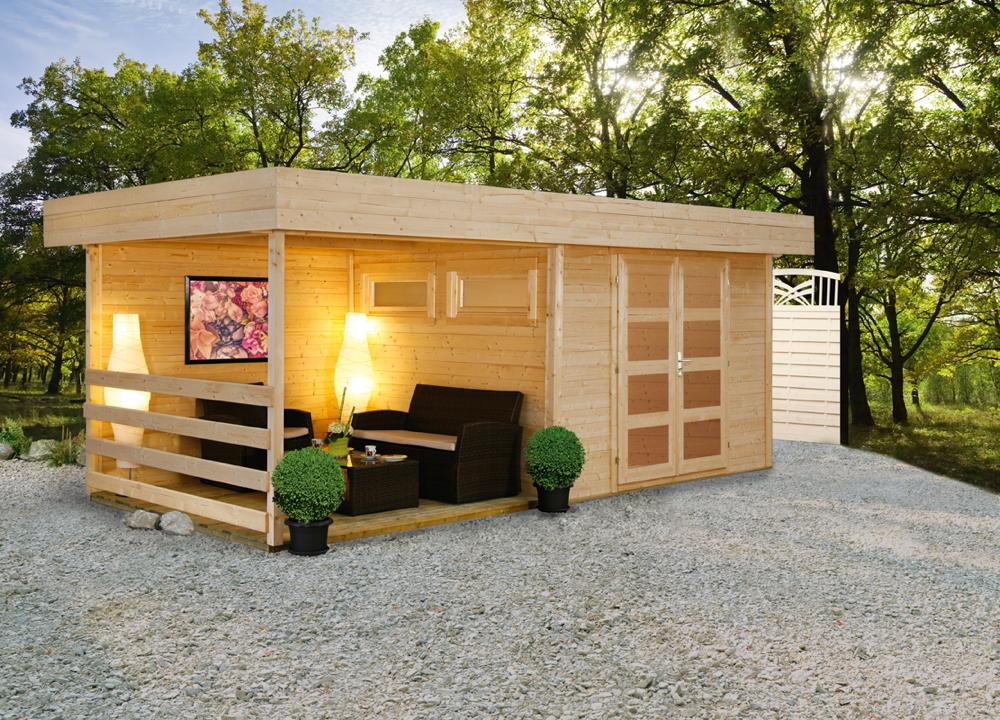 Gartenhaus Flachdach «300x250cm Holzhaus Bausatz 28mm inkl. seitlicher  Terrasse» | vom Gartenhaus-Fachhändler