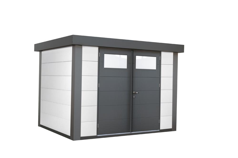 Gerätehaus Flachdach Metallgerätehaus «268x208 weiß» Doppeltür | vom  Gartenhaus-Fachhändler