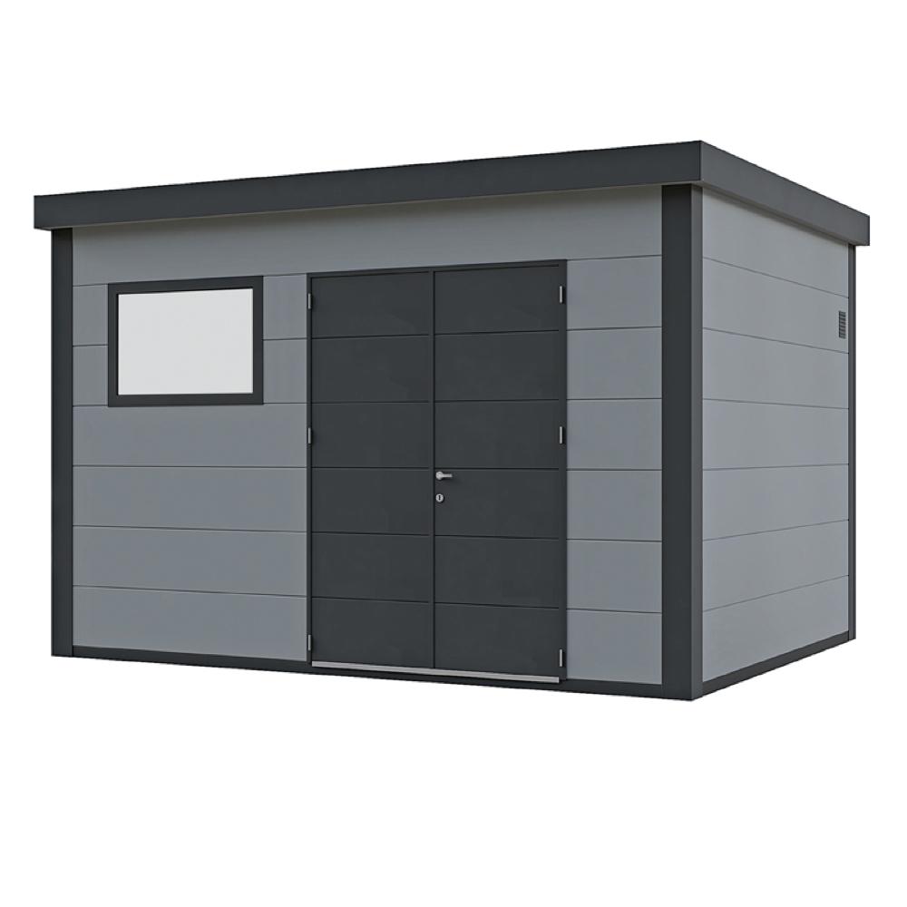 Gut gemocht Gerätehaus Flachdach Metallgerätehaus «388x298 lichtgrau NM27
