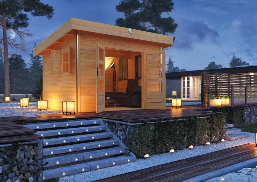 gartenhaus karibu moosburg holz haus bausatz flachdach. Black Bedroom Furniture Sets. Home Design Ideas