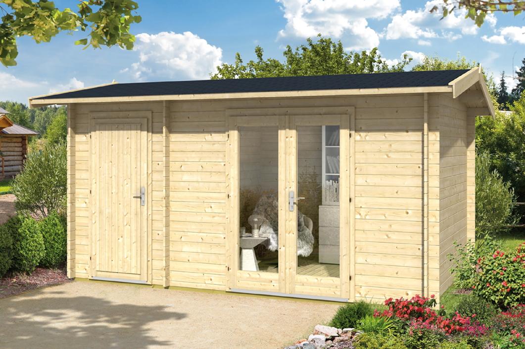 Gartenhaus «410x240 Holzhaus Bausatz 2 Raum Gartenhaus» Satteldach