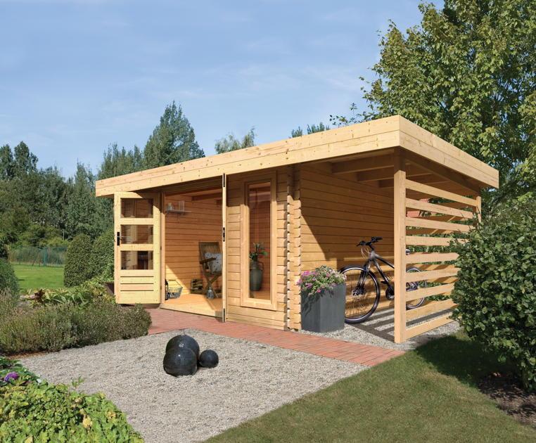 gartenhaus flachdach karibu aramir holz bausatz. Black Bedroom Furniture Sets. Home Design Ideas