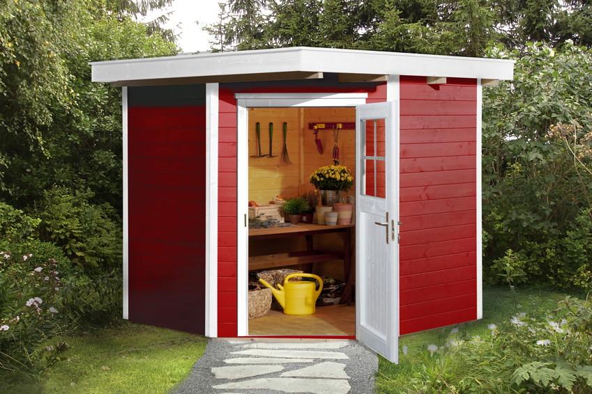 Ger Tehaus 5 Eck Flachdach Gartenhaus Holz Haus Bausatz Kaufen Im Holz Garten Baumarkt