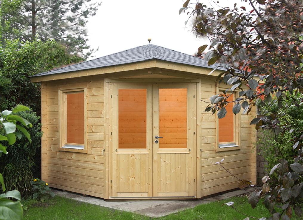 Incroyable 5 Eck Gartenhaus «300x300cm Holzhaus Bausatz» Doppeltür 44 Mm Wandstärke