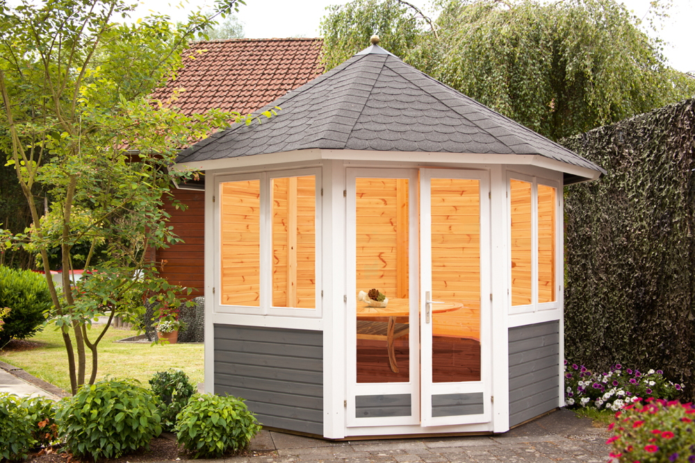 Premium Garten-Pavillon geschlossen «287x287cm» 8-Eck-Holz-Pavillon  Gartenlaube | vom Gartenhaus-Fachhändler