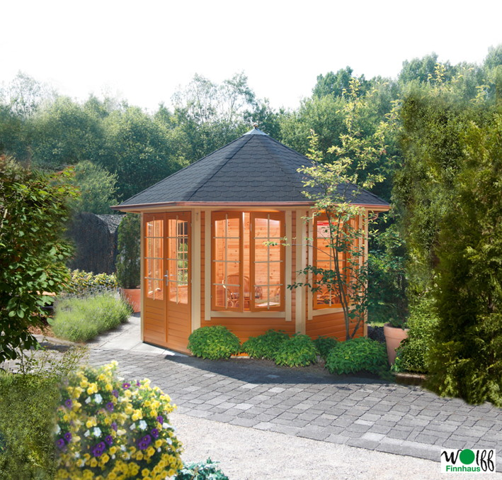 premium holz pavillon geshlossener 8 eck gartenpavillon parorama sprossen t r kaufen im holz. Black Bedroom Furniture Sets. Home Design Ideas