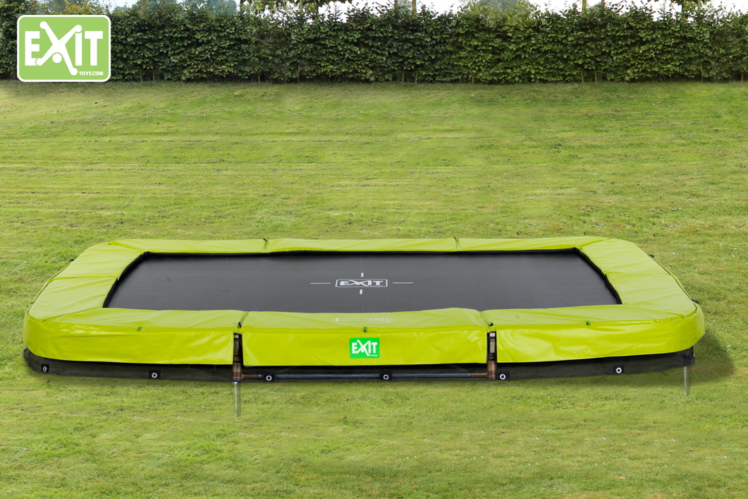 Kinder Trampolin Exit Twist Ground Grun 214x305 Cm Bodentrampolin