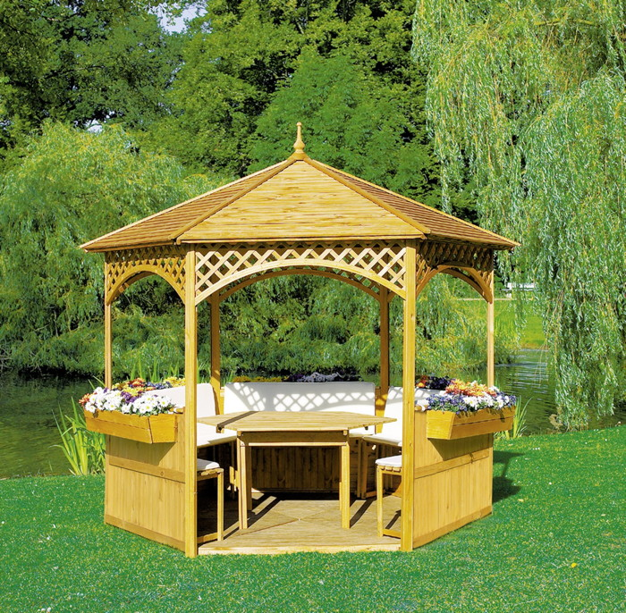 pavillon promadino palma 6 eck holz pavillon vom gartenhaus fachh ndler. Black Bedroom Furniture Sets. Home Design Ideas