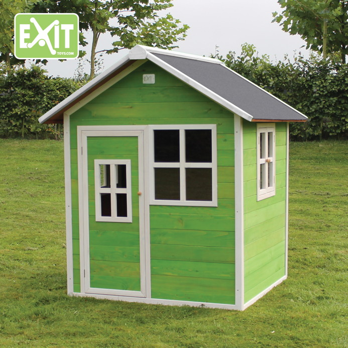 holz kinder spielhaus klein kinderspielhaus holzhaus rot gebeizt t r fenster kaufen im holz. Black Bedroom Furniture Sets. Home Design Ideas