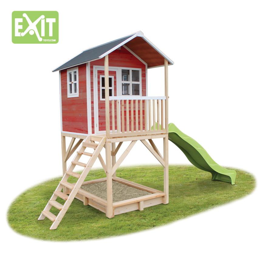 holz kinder spielhaus stelzen kinderspielhaus stelzenhaus rutsche rot klein vom gartenhaus. Black Bedroom Furniture Sets. Home Design Ideas