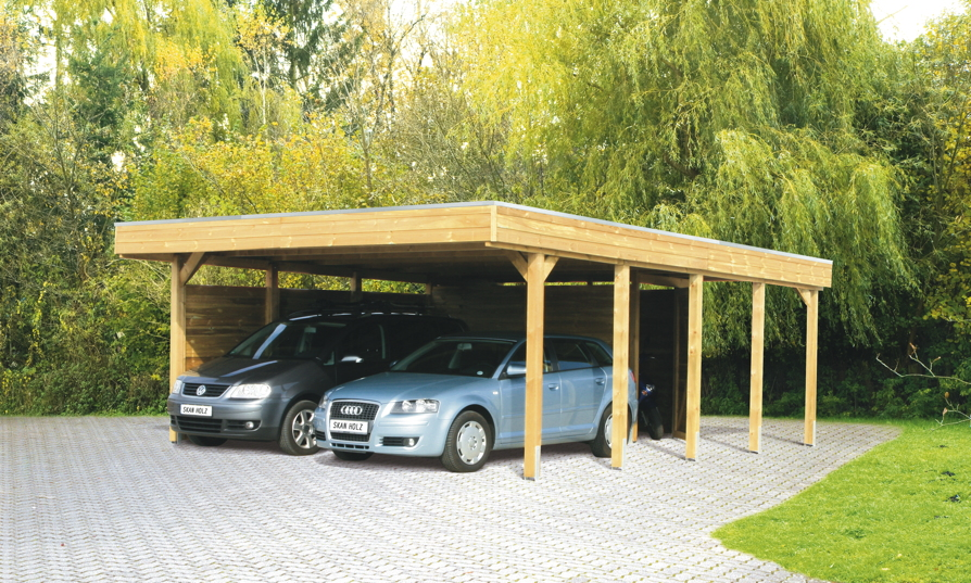 holz carport bausatz skanholz friesland holzdach flachdach doppelcarport kaufen im holz haus. Black Bedroom Furniture Sets. Home Design Ideas