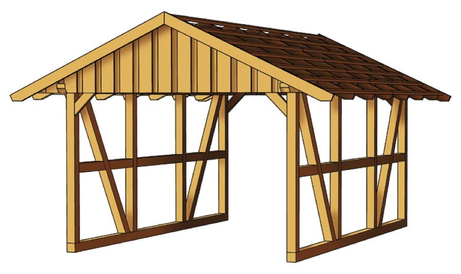 holz carport skanholz schwarzwald fachwerk einzelcarport vom gartenhaus fachh ndler. Black Bedroom Furniture Sets. Home Design Ideas