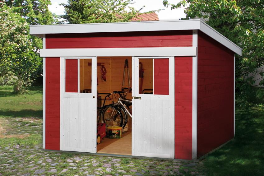 weka gartenhaus mit wetterschutzlasur in schwedenrot. Black Bedroom Furniture Sets. Home Design Ideas