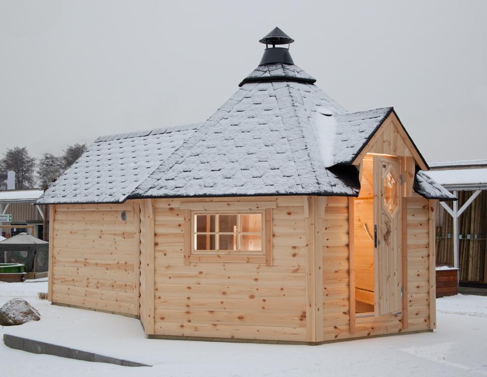 kota wolff grillkota 9 de luxe mit saunaanbau grillhaus gartenhaus aus holz kaufen im. Black Bedroom Furniture Sets. Home Design Ideas