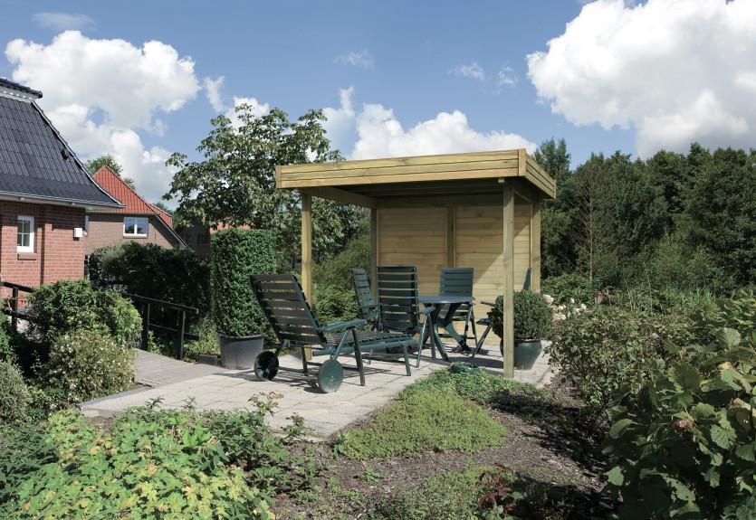 holz pavillon mit modernen flachdach offen gartenpavillon. Black Bedroom Furniture Sets. Home Design Ideas