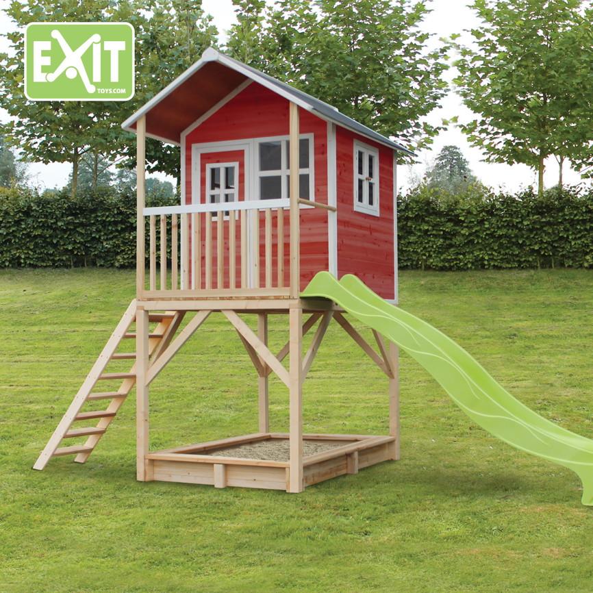 kinder spielhaus exit loft 700 kinderspielhaus stelzenhaus holzhaus rot kaufen im holz haus. Black Bedroom Furniture Sets. Home Design Ideas