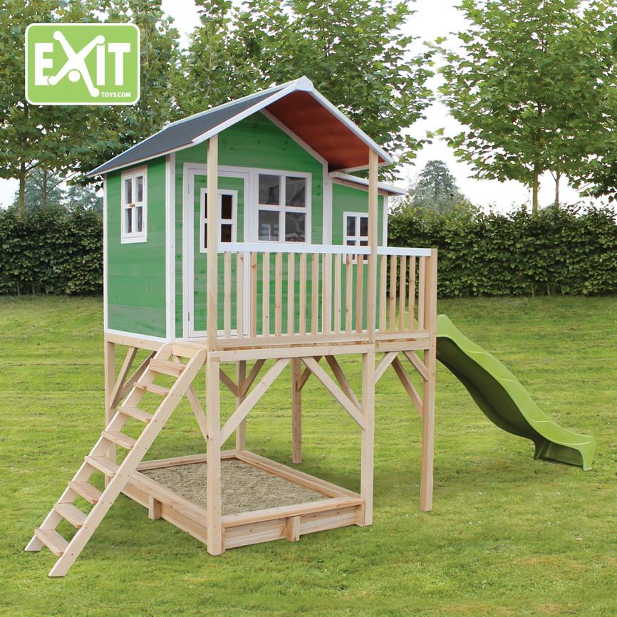 kinder spielhaus exit loft 750 kinderspielhaus stelzenhaus holzhaus rot kaufen im holz haus. Black Bedroom Furniture Sets. Home Design Ideas