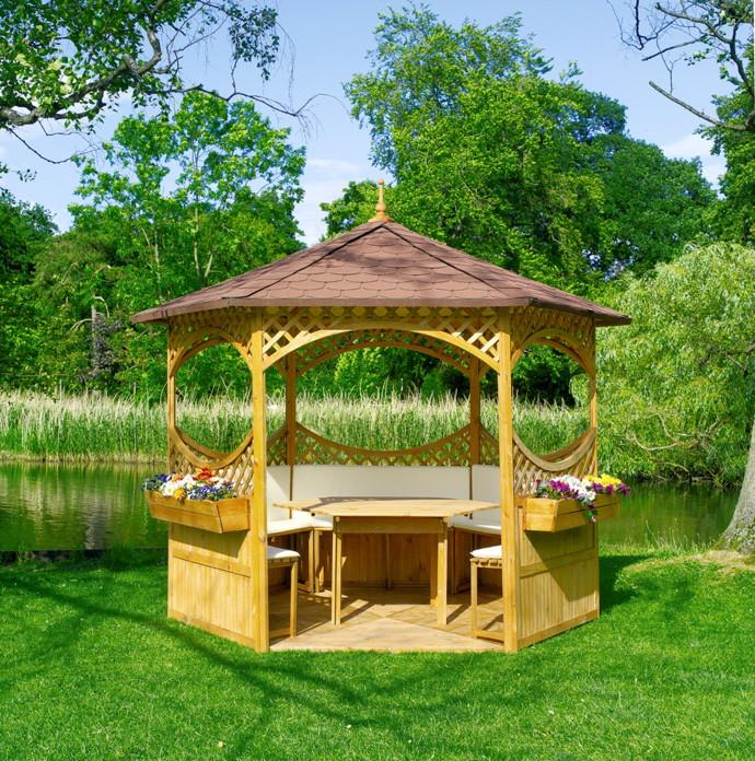 Überdachung Aus Holz Hier Günstig Kaufen Qsgartendecode: Pavillon PROMADINO «Palma» 6-Eck-Holz-Pavillon