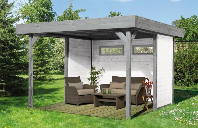 Wohnzimmer und Kamin gartenhaus 3x3m : Pavillon Holz-Gartenlaube 4-Eck-Gartenpavillon Flachdach ...