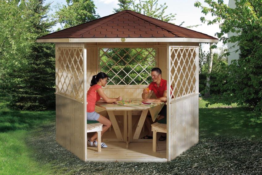 pavillon weka r gen typ 233 sylt 6 eck holz pavillon kaufen im holz garten. Black Bedroom Furniture Sets. Home Design Ideas