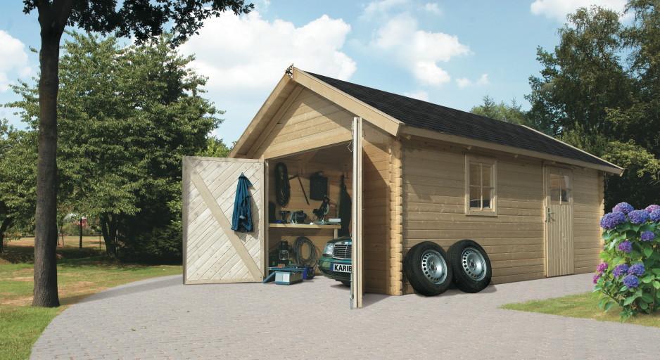 garage karibu einzel holzgarage 372x522cm 40 mm fenster seitliche t r kaufen im holz. Black Bedroom Furniture Sets. Home Design Ideas