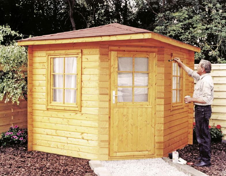 5 eck gartenhaus 240x240cm holzhaus bausatz einzelt r mit fenster kaufen im holz. Black Bedroom Furniture Sets. Home Design Ideas