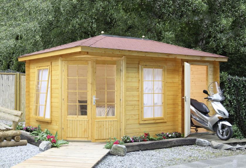 5 eck gartenhaus 453x299cm holzhaus bausatz doppelt r. Black Bedroom Furniture Sets. Home Design Ideas