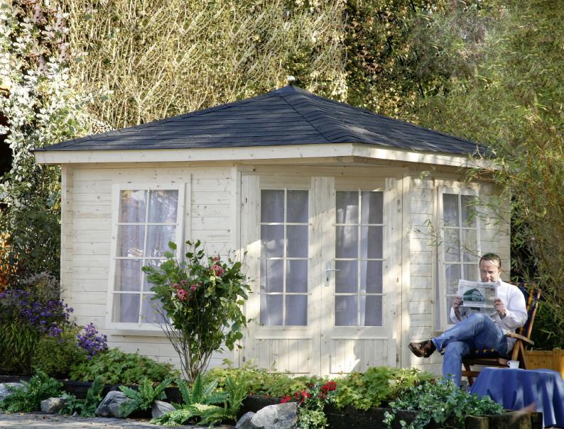 5 eck gartenhaus 299x299cm holzhaus bausatz doppelt r 40mm st rke gartenlaube kaufen im. Black Bedroom Furniture Sets. Home Design Ideas