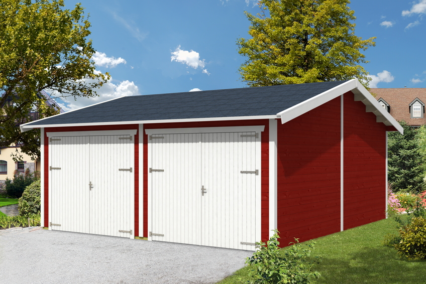 garage skanholz mora 2 doppelgarage 45 mm holzgarage bausatz kaufen im holz garten. Black Bedroom Furniture Sets. Home Design Ideas