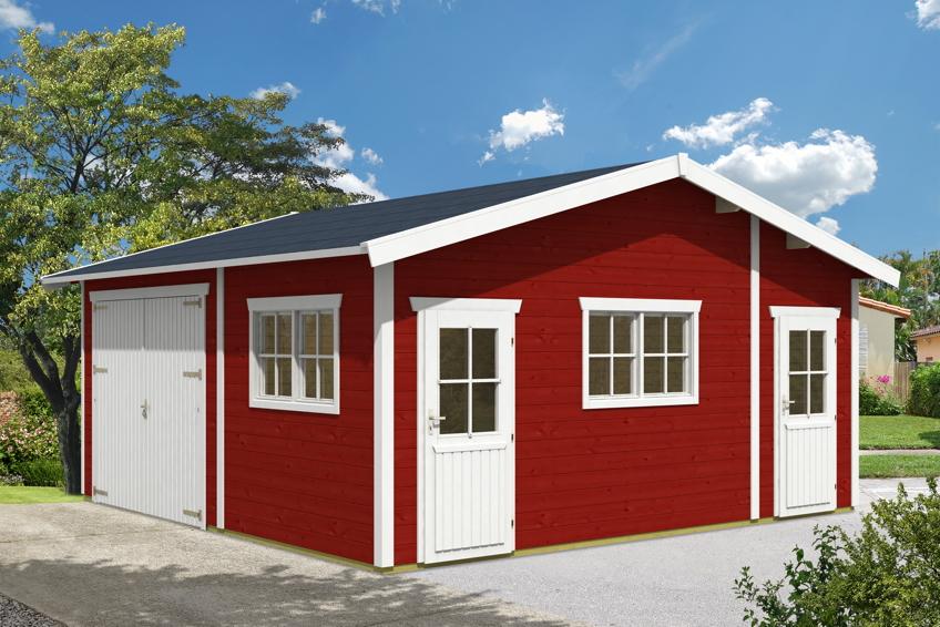 garage skanholz mora 1 einzelgarage 45 mm holzgarage. Black Bedroom Furniture Sets. Home Design Ideas
